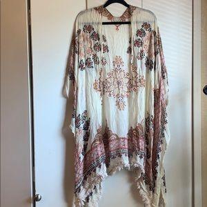 Floral fringe cotton woven kimono